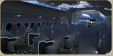 A350 nighttime cabin lighting