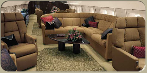 BBJ lounge cabin interior